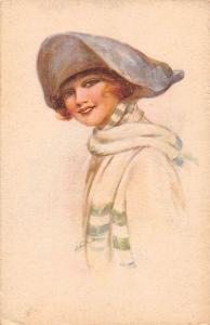 Fashion Lady Woman Dame, Artist Signed, Illustration, Postcard