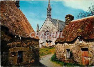 Postcard Modern Breton Village chapel Here intones pasaume For the old walls