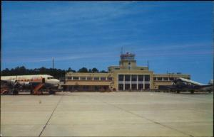 Norfolk VA Airport Capital Airlines Airplane Old Postcard