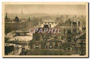 CARTE Postale Old Paris Strolling panoramic view of Paris Perspective 7 Bridges