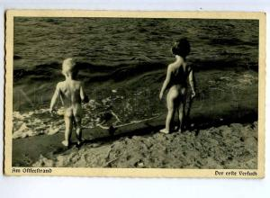 244106 Baltic Sea NUDE BOY on Beach Vintage PHOTO Postcard