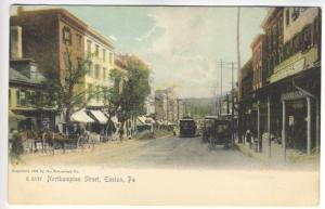 Easton PA Northampton Main Street View Trolley Wagons Storefronts Postcard