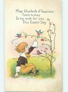 Pre-Linen easter CHILD REACHES UP TO TOUCH CUTE BIRD ON THE TREE hr2597