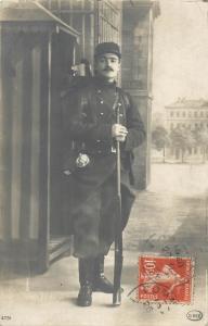 French soldier 1910 photo postcard military uniform rifleman