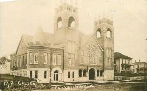1912 ME Church PARKERSBURG IOWA RPPC real photo postcard 4369