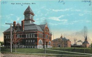 Ludington Michigan~High School~PM School Gone~Swedish Lutheran Church~1910