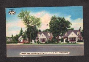 VA Colonial Hotel Court Cottages Motel Richmond Virginia Postcard Linen