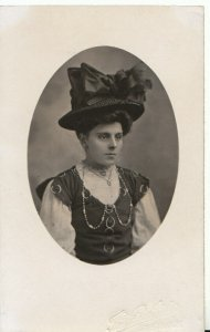 Fashion Postcard - Lady Wearing Decorative Hat - Ref 19327A