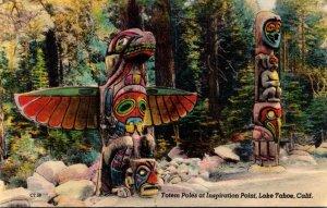 California Lake Tahoe Indian Totem Poles At Inspiration Point