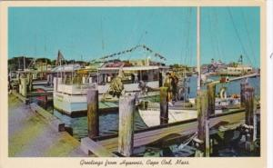 Massachusetts Cape Cod Greetings From Hyannis Showing Excursion Boats