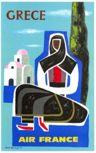 Vintage 1962 Air France Postcard Poster Art, Grece Greece by Guy Georget T72