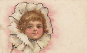 AS: Child's face in a Carnation Flower, Glitter Detail, 1900-10s