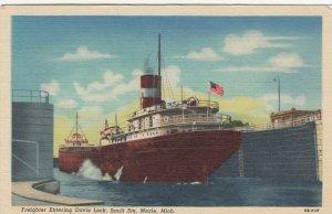 SAULTE STE. MARIE , Michigan, 30-40s ; Freighter entering Davis Lock