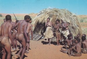 Bushmen Dance Bushman Naked Men Showing Lady Dancing South Africa Postcard