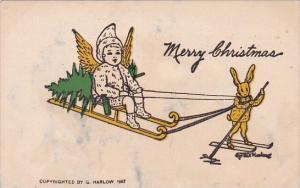 Christmas Rabbit On Skis Pulling Angel On Sleigh Signed Gene Harlow