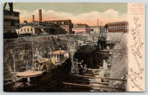 Kittery Maine~Navy Yard~Ships in New Dry Dock~Ladders~Warehouses~1906 Postcard