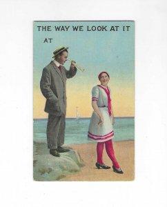 Vtg 1912 Romantic Couple Sundress Suit Beach Scene Early Fashion Postcard