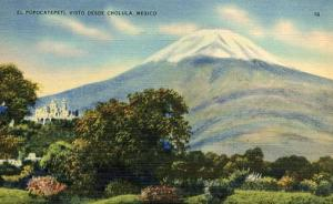 Mexico - Cholula, El Popocatepetl Volcano as seen from Cholula