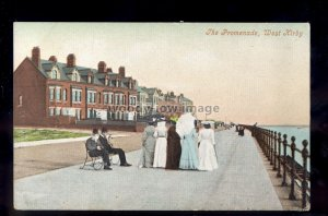 TQ2944 - Cheshire - Ladies walking along the Promenade at West Kirby - postcard