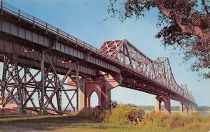 New Orleans Louisiana~The Mississippi River Bridge~1960 Postcard