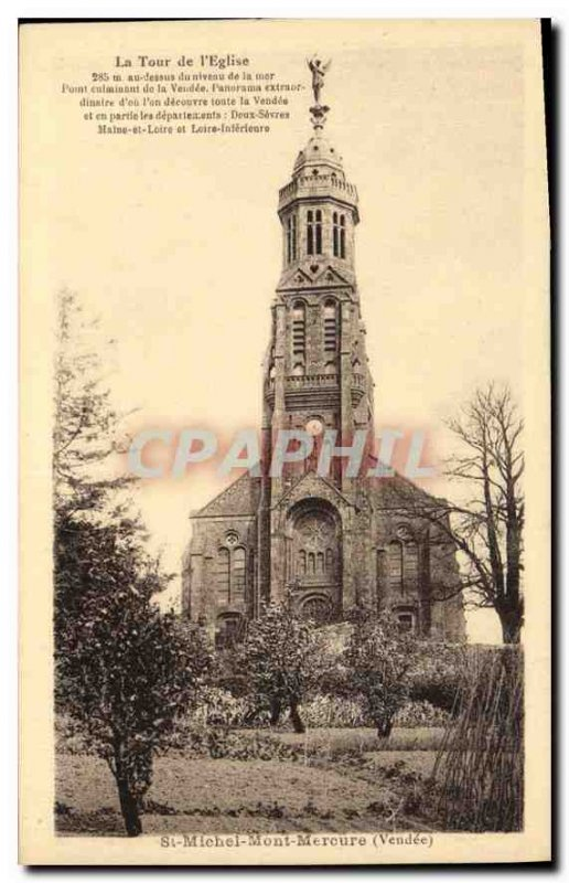 Old Postcard St Michel Mont Mercure Vendee the tower of the church