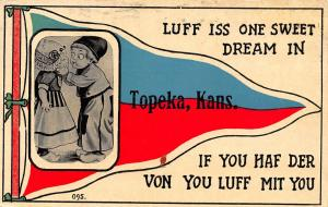 Luff Iss One Sweet Dream in Topeka Kansas~Kids on Pennant~1913 Postcard