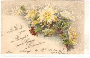 Beautiful flowers bouquet. Christmas Message Tuck Christmas Ser. PC  #1718