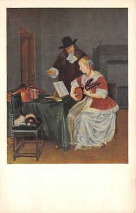 Man and Woman with Music and an Instrument  Postcard Unused