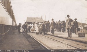 RP: LACOMBE, Alberta, Canada, PU-1913; Train at CPR Railroad Depot