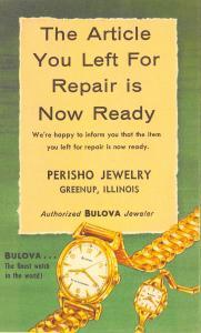 Greenup IL Perisho Jewelry Your Repair is Ready~Bulova Watch 1950s Postal