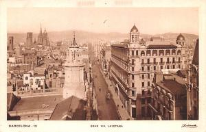 Spain Old Vintage Antique Post Card Gran via Layetana Barcelona Unused