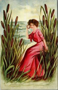Winsch Lady by Sea Shore Cattails~Holds Conch Shell to Ear~Pink Gown~Emboss~A301