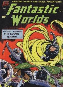 Fantastic Worlds 1950s Sci Fi Comic Book Cosmic Terror Postcard