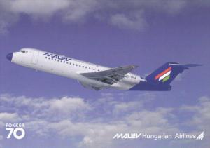 MALEV Hungarian Airlines Fokker 70 Jet Airplane , 80-90s