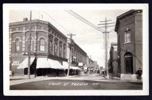 Ontario TRENTON Front Street Store Fronts Older Cars AZO stamp box RPPC pm1942