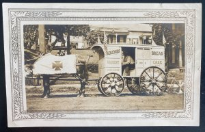 Mint USA Real Picture Postcard RPPC Advertising Wagon Berkshire Bakery Shelburne