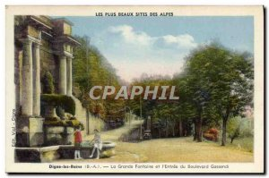 Old Postcard Digne les Bains La Grande Fontaine And I & # 39Entree the boulev...