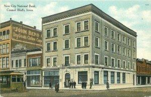 Council Bluffs Iowa New City National Bank Trolley C-1910 Postcard 21-6010