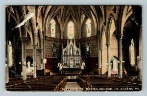 St Albans VT-Vermont, Interior Of St Marys Church, Vintage c1911 Postcard