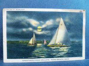 Postcard OH Reno Beach Greetings from Kelleys Reno Beach Ohio Sailing Moonlight