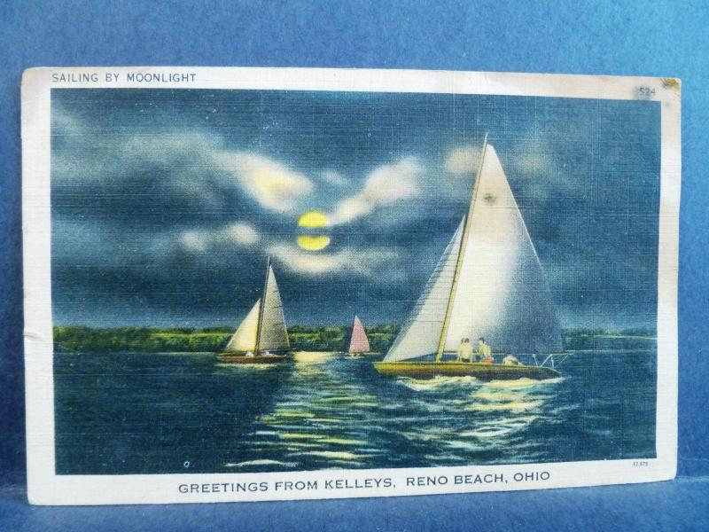Postcard Oh Reno Beach Greetings From Kelleys Ohio Sailing Moonlight