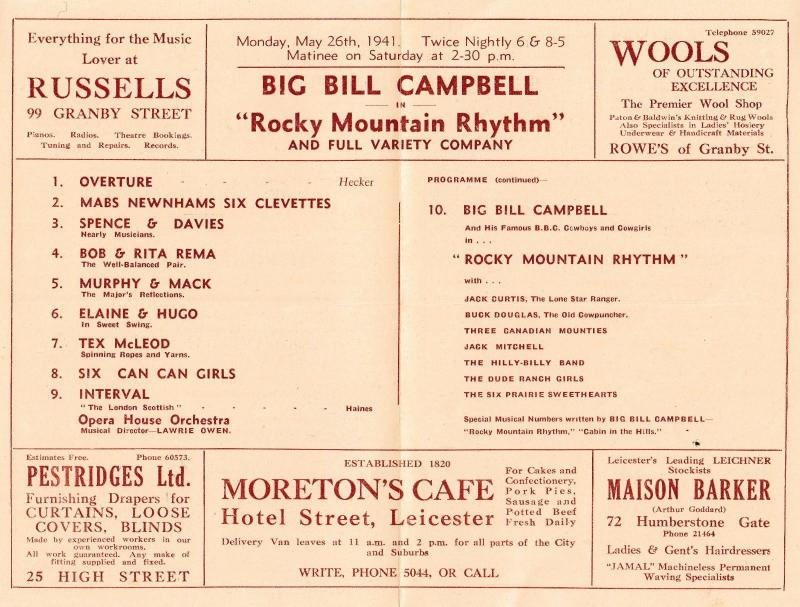 Big Bill Billy Campbell Country & Western Show Leicester Theatre Programme
