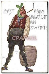Postcard Old Man Smoking Cigar
