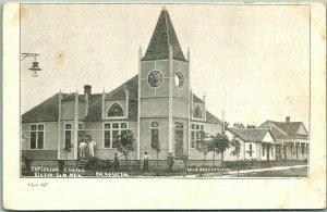 Vintage BROKEN BOW, Nebraska Postcard Christian Church Street View c1910s