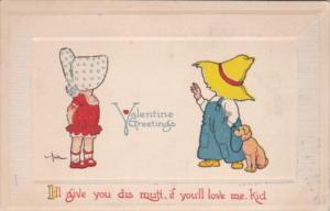 Valentine's Day Young Couple and Dog 1913 Signed Benjen