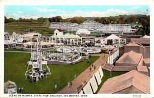 Iowa Des Moines Scene On Midway State Fair Grounds Curteich
