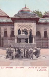 Spain Granada Alhambra Fuente de los Leones y Templete