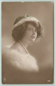 Austria~1908 Colorized RPPC Lovely Lady~Thick Fur Shawl Off-Shoulder~Pearls~1908