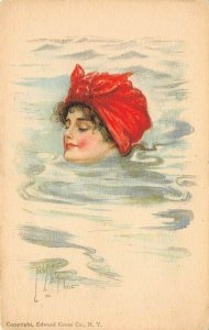 LP71 Artist Signed Fidler Postcard Pretty Woman American Girl No.34 Swimming Cap