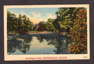 ME Greetings From SMITHFIELD MAINE Linen Postcard